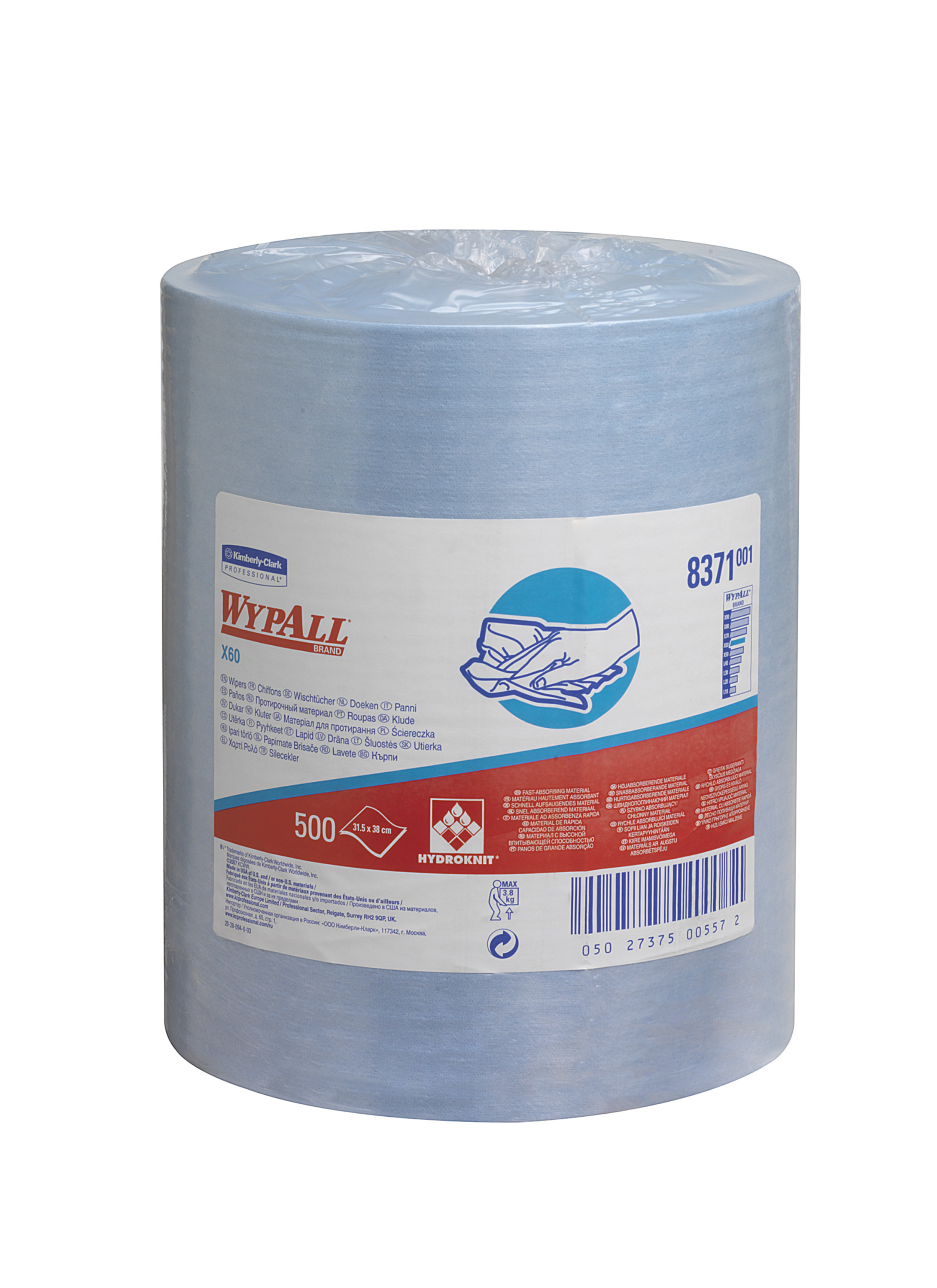 Kimberly Clark Wypall 8371 Blue Towel Roll Of 500 Vip